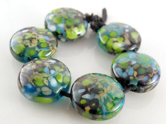 Night Life - Handmade Lampwork Beads - Lampwork Glass Lentil Beads 18mm - Black, Green, Blue, Gold - SRA (Set of 6 Beads)