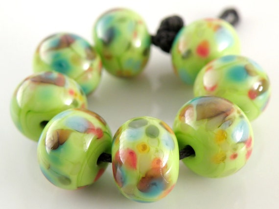 Flaming Kermit - Handmade Artisan Lampwork Glass Round Beads 8mmx12mm - Green, Coral, Blue - SRA (Set of 8 Beads)