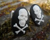 skull and crossbone cuflinks punk goth  manly valentine gift