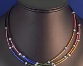 3-Strand Adjustable Glass and Swarovski Crystal Rainbow and Black Necklace