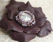 Gemdrop Leather Flower Pin Brooch in Plum Purple