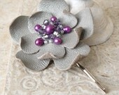 Leather Flower Hairpin Bobby Pin in Pale Gray and Violet Purple