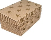 Gold Stars- 24 Mini (Business Card Size) Envelopes. Gold and Kraft Brown. Gift Enclosures