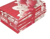 Mini Envelopes (Business Card Size) -24 Red and White Lace-