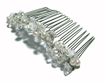 Freshwater Pearl, Clear Quartz, and Crystal Hair Comb