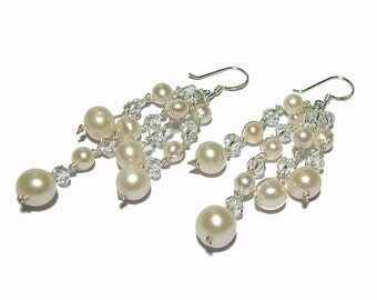 Pearl and Crystal Dangle Earrings