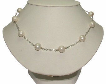 Bridal Freshwater Pearl Necklace with Stud Earrings