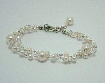 Double Strand Bridal Pearl and Crystal Bracelet