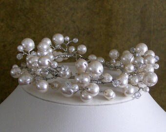 Bridal Pearl Crystal Vine Bracelet