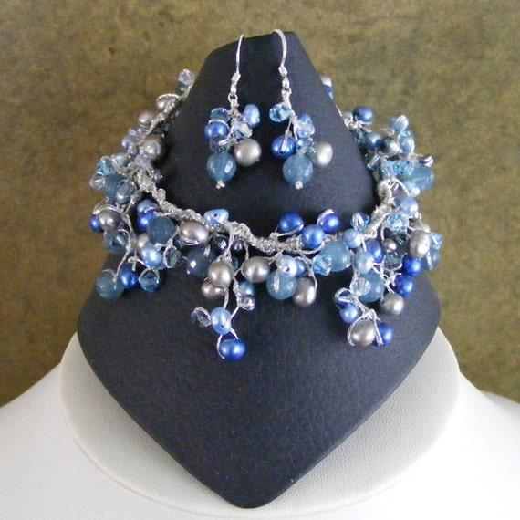 something blue bracelet and earrings set