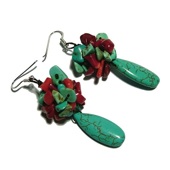 Turquoise Howlite and Coral Earrings
