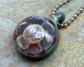 Moon Flower Boro Implosion Pendant - angelfireartglass
