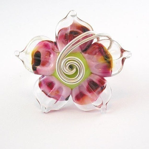 Speckle Pink Lampwork Ring - Angelfire Art Glass