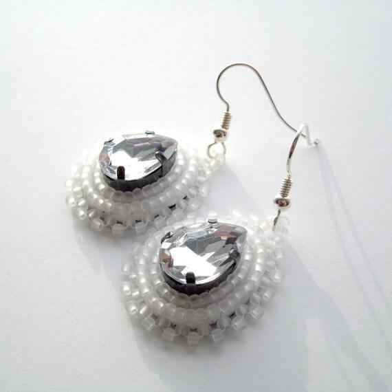 White Beaded Earrings Faux Diamonds