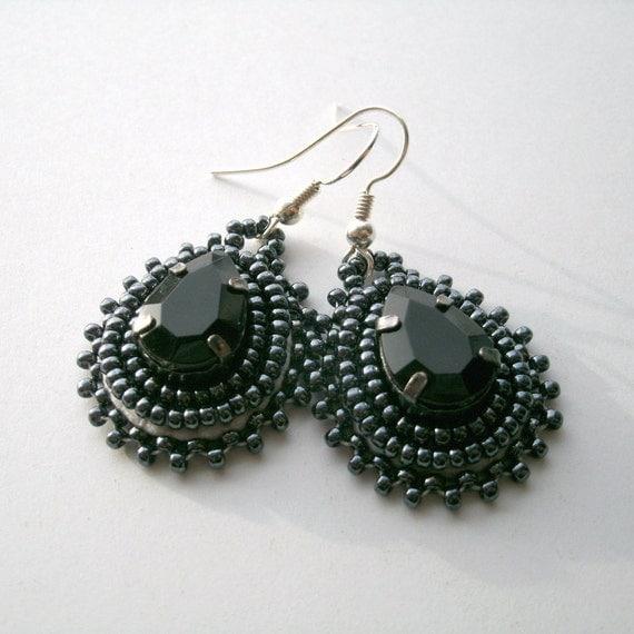 Sale Black Rhinestone Beaded Earrings