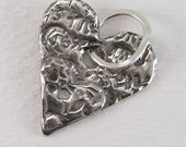 Two Of Hearts Fine Silver Charm, Pendant OOAK