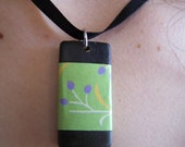 Bamboo and Origami Paper Pendant - green with purple buds