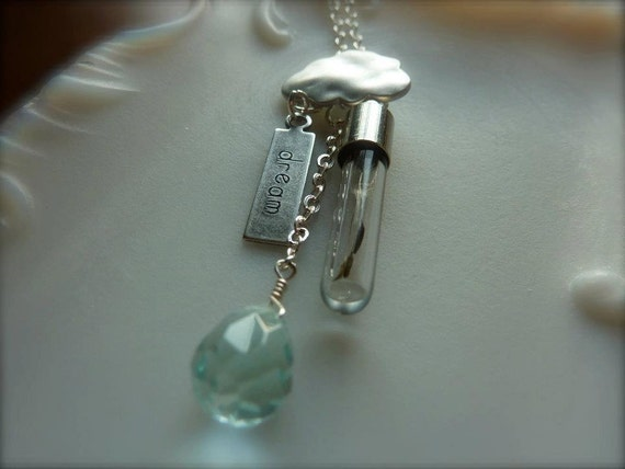 Daydream Believer Blue Briolette Cloud Dream Dandelion Wish Necklace