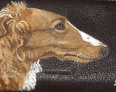 Borzoi Russian Wolfhound Dog Custom Hand Painted Leather Checkbook Cover Checkbook Holder