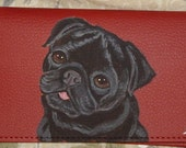 Black Pug Dog Custom Painted Leather Checkbook Cover