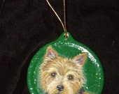 Norwich Terrier Dog Custom Painted Christmas Ornament