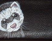 Ferret Custom Painted Leather Checkbook Cover
