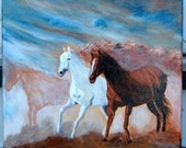 Wild Horses Running  Original Stretched Canvas Painting FINAL SALE 12x12