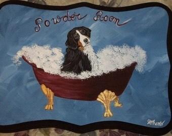 Bernese Mountain Dog Custom Painted Powder Room Sign Plaque Home decor Wall decor