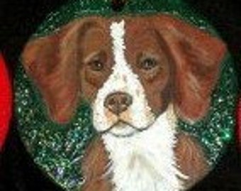 Brittany Spaniel Dog Custom Hand Painted Christmas Ornament Christmas Decoration