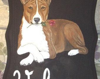 Basenji Dog Custom Painted Welcome Sign Plaque Home decor Wall decor