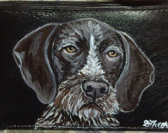 German Wirehaired Pointer Custom Painted Men Leather Wallet