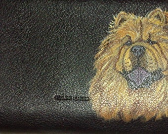 Chow Chow Dog Custom hand Painted Leather Checkbook Cover Checkbook Holder