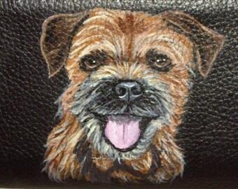 Border Terrier Dog Custom hand Painted Leather Checkbook Cover checkbook Holder