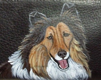 Collie Dog Custom hand Painted Leather Checkbook Cover checkbook Holder