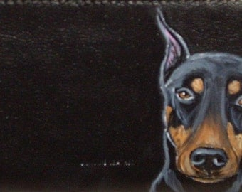 Doberman Pinscher Dog Custom hand Painted Leather Checkbook Cover checkbook Holder