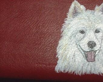 Samoyed Dog Custom Hand Painted Leather Checkbook Cover Checkbook Holder