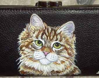 Siberian Cat Custom Hand Painted Ladies Leather Wallet