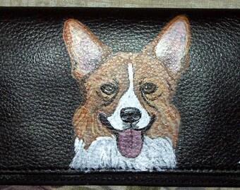Welsh Corgi Dog Custom Painted Leather Checkbook Cover