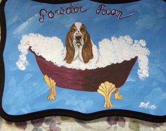 Basset Hound Dog Custom Painted Powder Room Sign Plaque Home decor Wall decor
