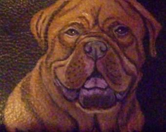 Dogue De Bordeaux Custom Painted Leather Men's wallet Gifts for Men