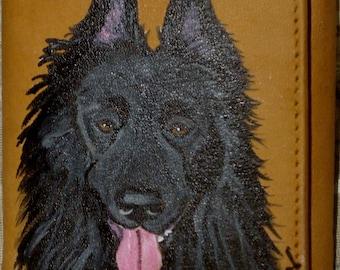 Belgian Sheepdog hand Painted Men's Leather Wallet