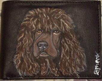 Irish Water Spaniel Dog Custom hand Painted Men's Leather Wallet