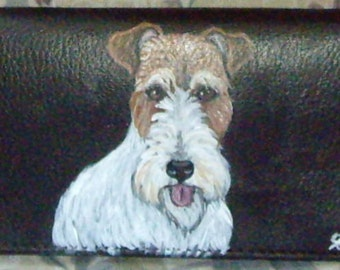 Fox Terrier Dog Custom Painted Leather deluxe Checkbook Cover