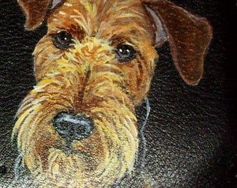 Airedale Terrier Dog Custom Painted Leather Men's wallet