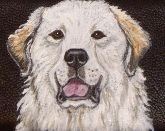 Great Pyrenees Dog Custom hand Painted Leather Wallet for men