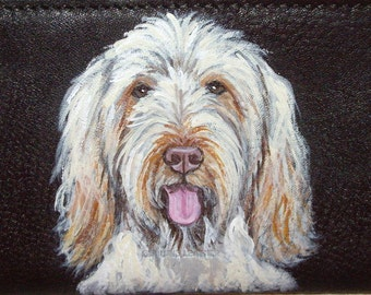 Italian Spinone Dog Custom Hand Painted Leather Men's wallet