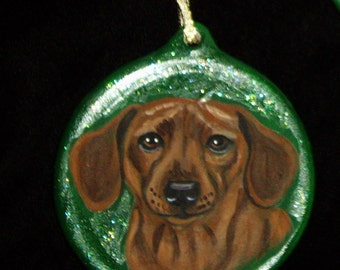 Dachshund Dog Custom Painted Christmas Ornament Decoration