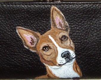 Basenji Dog Custom hand Painted Leather Checkbook Cover checkbook Holder