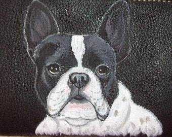 Pied French Bulldog Custom Painted Leather Checkbook Cover checkbook holder