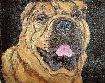 Shar Pei Dog Custom hand Painted Leather Wallet for Men